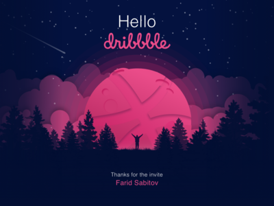 Hello Dribbble! first shot moon space illustration sketch debut thanks invation invite dribbble