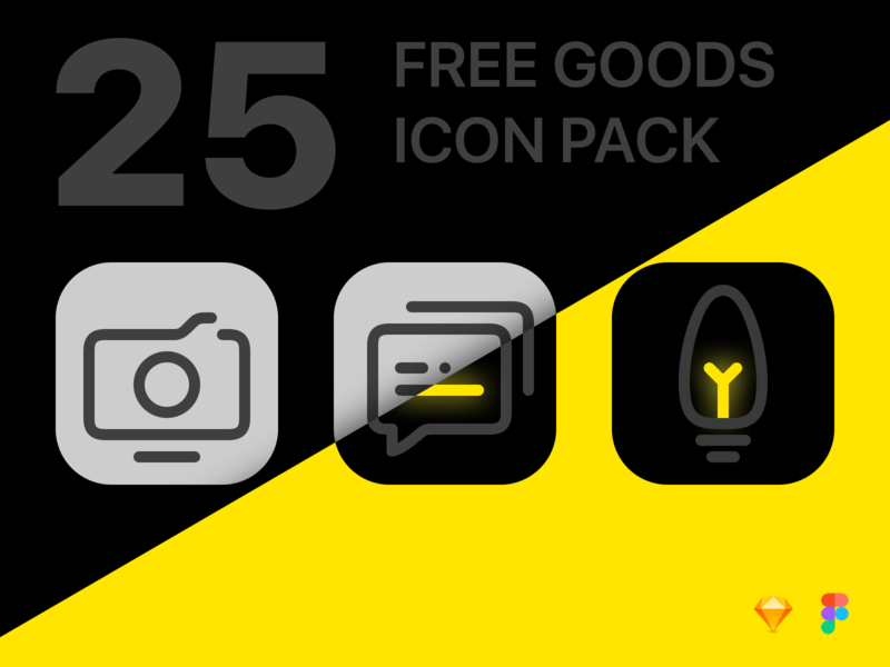 25 Free Icon Pack sketch app sketch goods neon icon pack pack icon free ui