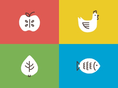 Barraral Organicos simbol illustration icon chicken apple colors identidade id logo design graphic branding