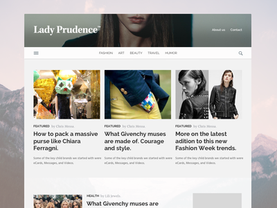 Lady Prudence blog and hot topics news info fashion stories homepage blog responsive ui website