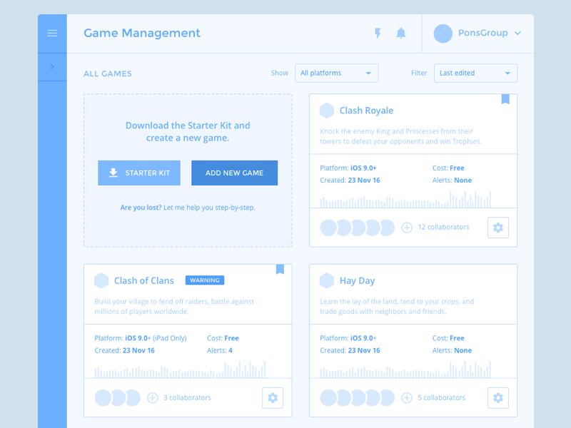 Game Management · Cards startup insight user testing wireframe ux console interface developer games data dashboard analytics