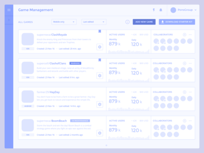 Game Management · List analytics dashboard data games developer interface console ux wireframe user testing insight startup