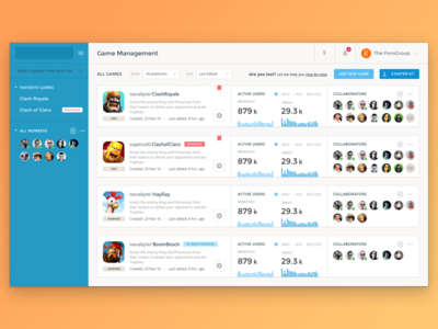 Game Management · UI user interface startup web ui console interface developer games data dashboard analytics