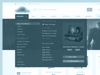 Trading Cards: Sitemap And Menus usability navigation analytics wireframes ux exploration sitemap ia