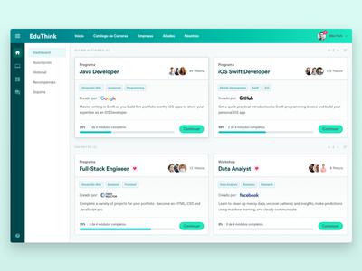 EduThink: Dashboard startup dashboard flat app web responsive code development e-learning courses ui ux