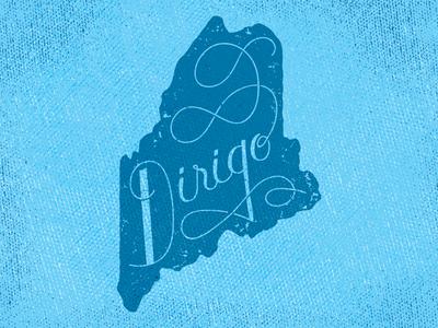Dirigo usa me maine lettered dirigo hand lettered state motto state