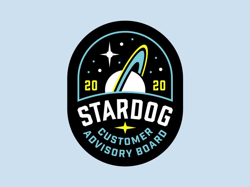 Stardog Patch branding lockup stars saturn space logo space logo badge patch stardog dog star