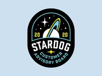 Stardog Patch branding lockup stars saturn space logo space logo badge patch stardog dog star
