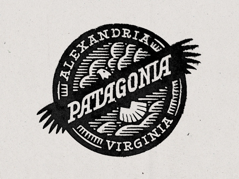Patagonia Old Town branding lettering typography outdoors stamp texture dove woodcut logo eagle logo badge eagle wildlife dc virginia alexandria patagonia