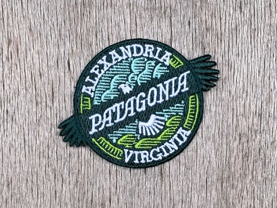 Patagonia Alexandria Patch nature outdoors logo eagle logo badge custom type typography bald eagle eagle mountains clouds patch design patch washington dc virginia alexandria patagonia