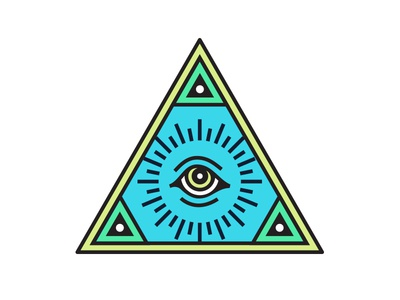 All Seeing nick cage truth illuminate bright pyramid eye patch badge design icon
