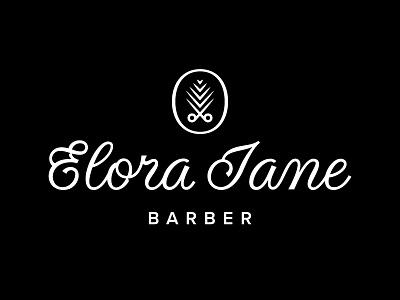 Elora Jane hand lettering beach palm lettering barber shears pineapple script typography type logo branding