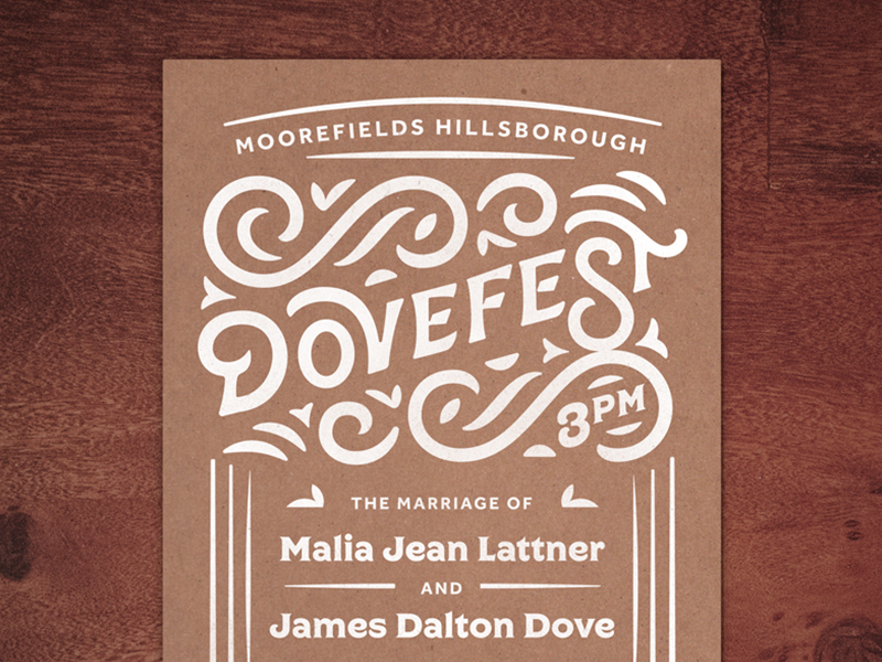 Dovefest Wedding Invite north carolina wedding invite outdoors card marriage dove lettering typography print invite wedding