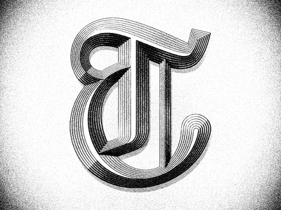 TypeFight T type fight blackletter typefight texture shadow bevel chisel monogram t lettering typography type