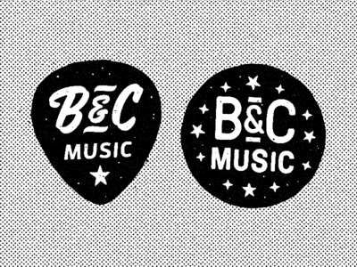 B&C Music rock and roll pick guitar southern badge texture halftone globe alabama bc music