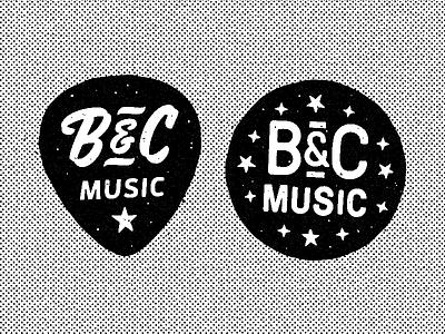 B&C Music rock and roll pick guitar southern badge texture halftone globe alabama bc music