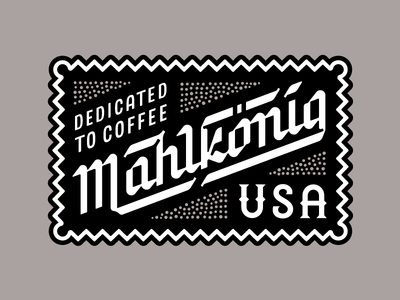 Mahlkonig USA cafe grinder hand lettering germany usa typography type lettering patch badge coffee mahlkonig