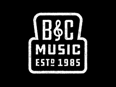 B&C Music Knockout southern rock alabama rock and roll band treble clef 1985 music bc rebound texture stamp