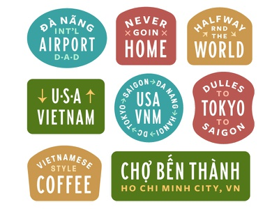 Vietnam coffee usa stickers badges patch badge asia hanoi saigon travel vietnam