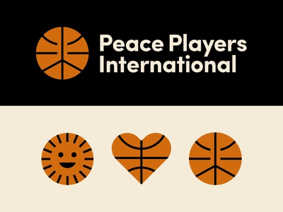 Peace Players International icons logo branding nonprofit international peace sign sun heart athletic logo sports basketball peace