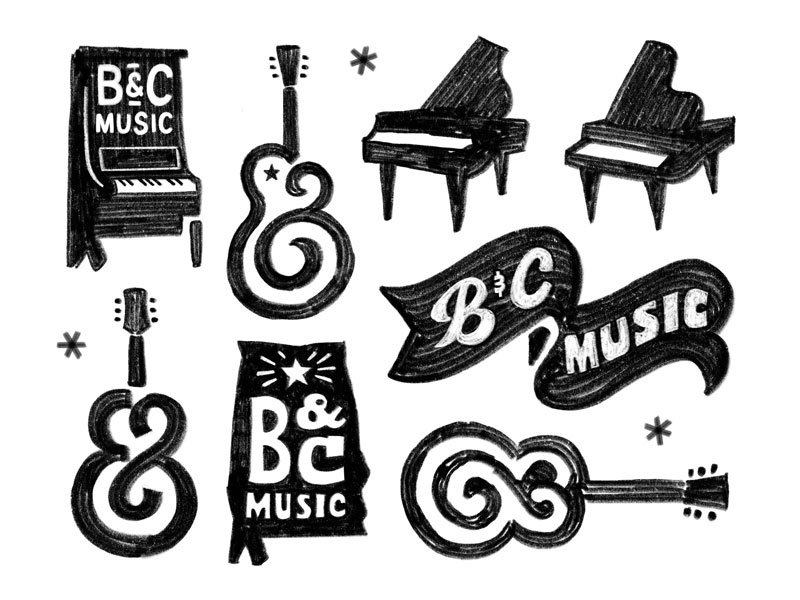 B&C Music texture sketchbook sketch soul auburn typography paino ampersand guitar bc south logo branding music alabama