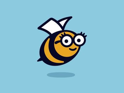 Bargain Booksy Logo logo design logo bookshop bug honeybee glasses north carolina durham honey animal bee reading bookstore books book