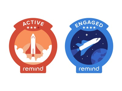 Remind Engagement Badges illustration nasa san francisco active earth stars shuttle space tech remind engage patch badge
