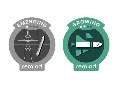 Remind Engagement Badges shuttle badge design emerge drafting san francisco remind nasa stars space pencil illustration patch badge