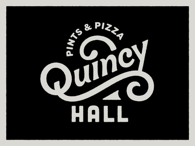 Quincy Hall logotype typogaphy lettering swash pint pizza logo beer branding washington dc logo beer logo pizza beer quincy