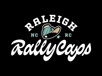 Raleigh Rally Caps typography logotype lettering sports logo nc hat logo capitol dome rally cap sports baseball logo north carolina raleigh