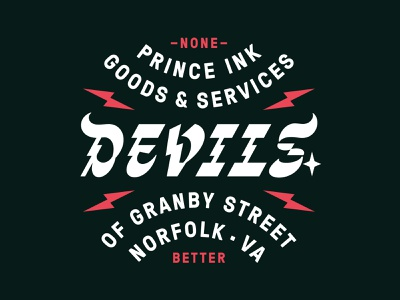 Devils of Granby Street lightning bolt norfolk virginia shirt screenprint lightning devil horns retro lockup lettering typography type devil