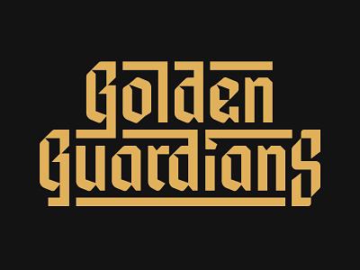 Golden Guardians Alternate Wordmark golden state warriors golden state wariors blackletter video game gold golden gate logotype logo branding lettering gaming san francisco golden guardians typography type