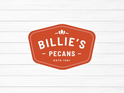 Billie's Pecans nuts mississippi south southern food pecan red branding logo brand