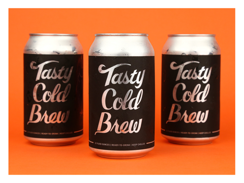 Tasty Cold Brew modern custom type typography branding can label design canned coffee