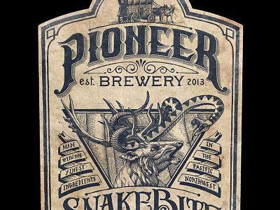 Pioneer Brewery Dribbble beer label deer snake brewery line art hatching hand made pioneer snakebite vintage