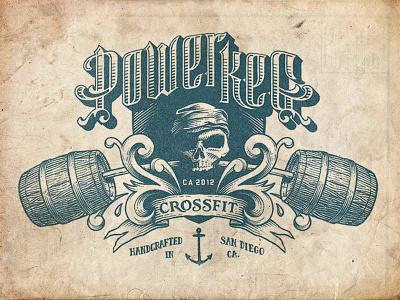 Power Keg Dribbble illustration line pirate hatch ship barrel keg cross fit power keg hand drawn