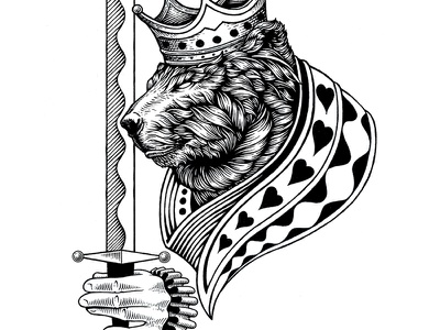 King Of Hearts bear card king of hearts ink traditional