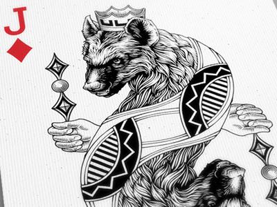 Jack of Diamonds hyena playing card jack illustration