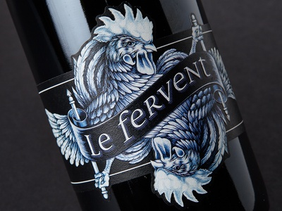 Le Fervent emboss cut die drawing rooster label wine