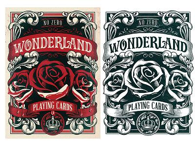 Wonderland crown filigree illustration drawn hand rose cards playing