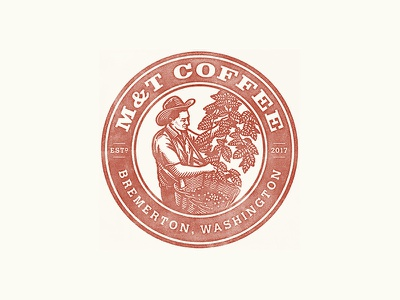 M&T Coffee stamp illustration coffee