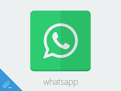 Flat Whatsapp Icon [PSD] freebie psd whatsapp flat icon app