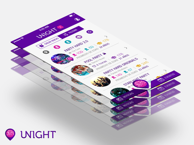 Unight UI unight ui perspective app party purple filters feed ios iphone