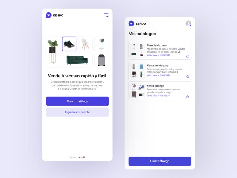 BENDO App shop ecommerce app bendo chile feed share grid whatsapp ecommerce branding iphone ux shadow ui logo web app