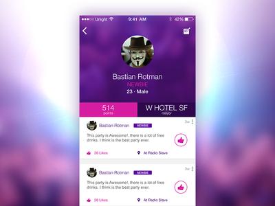 Unight Profile [WIP] unight app ios profile screen blur party geo