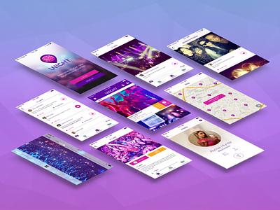 Unight 2.0 unight app ios party checkin rsvp event stream redesign profile feed login