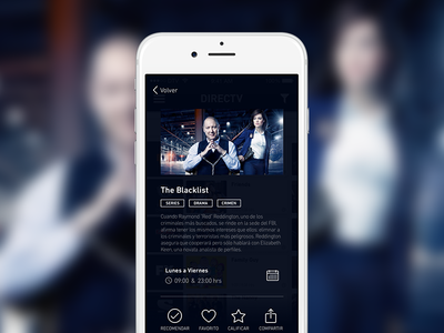 TV Discovery App - 2 the blacklist preview share favourite tag label tv series filter movies ios app
