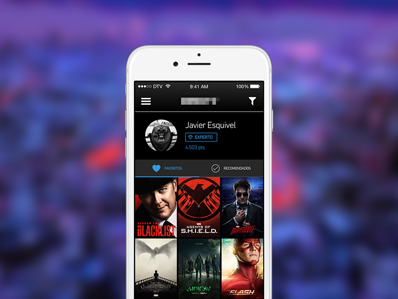 TV Discovery App - Profile user filter favourites poster daredevil series tv ios app profile