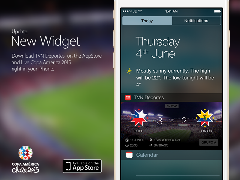 iOS Widget - TVN Deportes ecuador chile update today notification soccer america copa america sports widget ios app