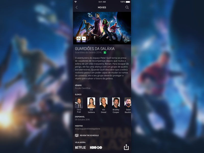 Oi Play App - Movies Discovery detail schedule actors series guardians of the galaxy movie ux ui android ios app oi play